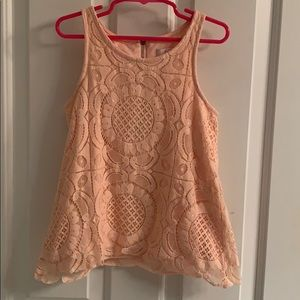 Girls GB girls Peach Sleeveless Lace Top